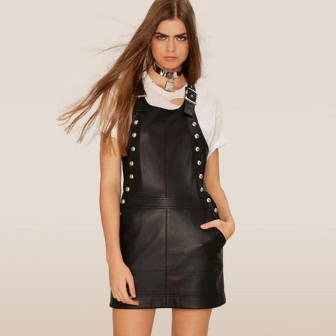 Genuine Leather Lambskin short Sexy slim sleeveless Black Dresses