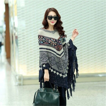 Tassel Knitting Cloak Chic Cardigan Loose Boho Bohemian Sweaters