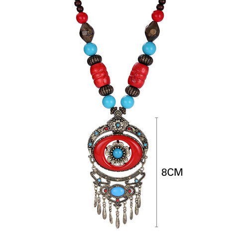 Ethnic Wood Tibet Vintage Metal Beads Maxi Pendant Necklaces Boho Bohemian Accessories