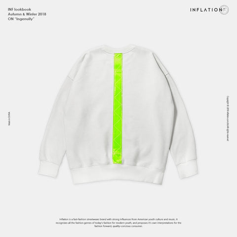Fluorescent Green Vertical Stripe Casual Swag Sweatshirt