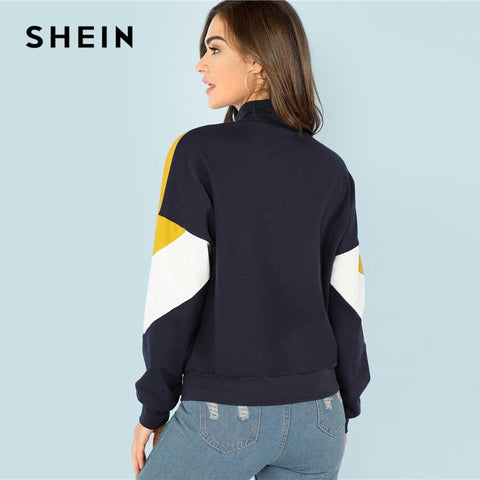 Multicolor O Ring Zip Front Cut and Sew Sweatshirt