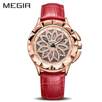 Luxury Rotated Dial Red Leather Lovers Quartz Watch