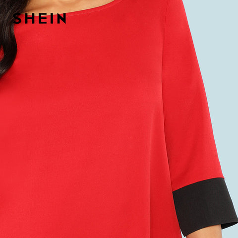 Red Contrast Trim Tunic Color block Office Dresses
