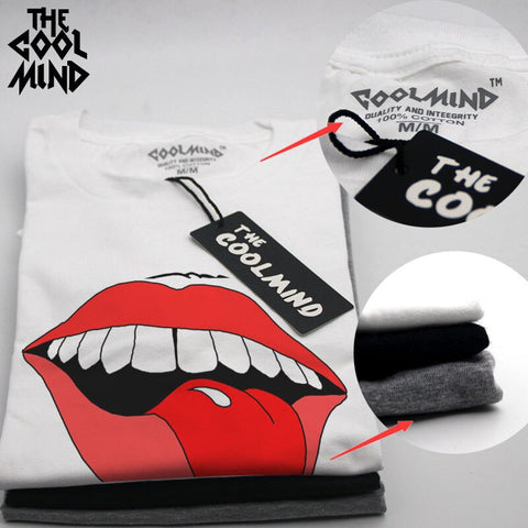 red lip print Cotton casual T shirt