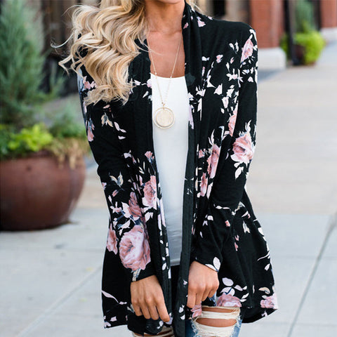 Floral Long Sleeve Jumper Cardigan Cotton Bohemian Jackets Coats