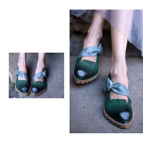 Original Retro Handmade Cowhide Shallow Butterfly knot Flat Shoes