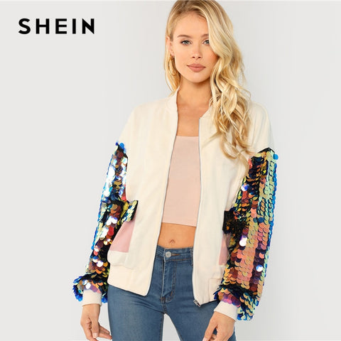 White Elegant Contrast Sequin Sleeve Pocket Front Zipper Up Jackets
