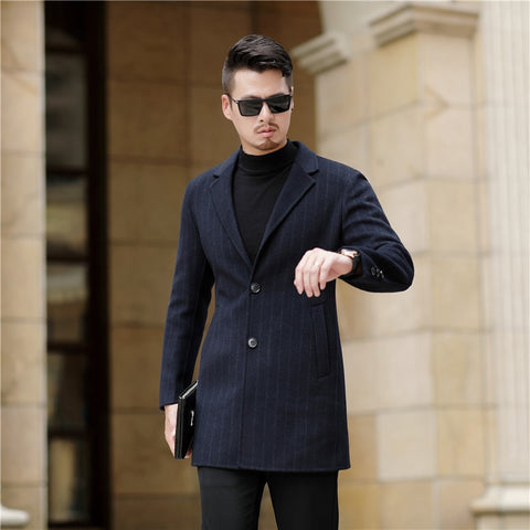 Casual Woolen Solid Color Casual Coat