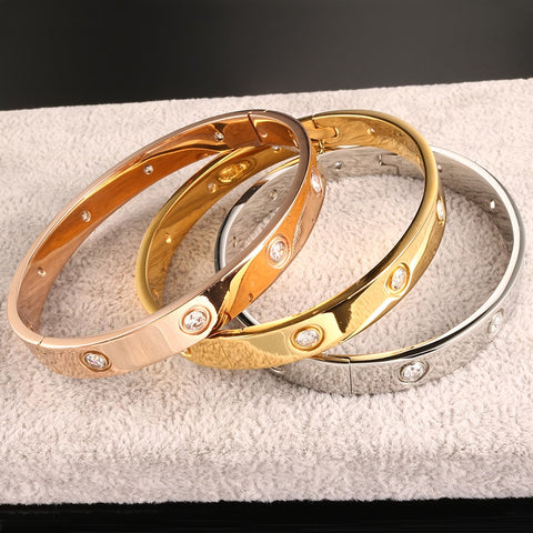 Open Cuff Design Stainless Steel Crystal Bracelets & Bangles