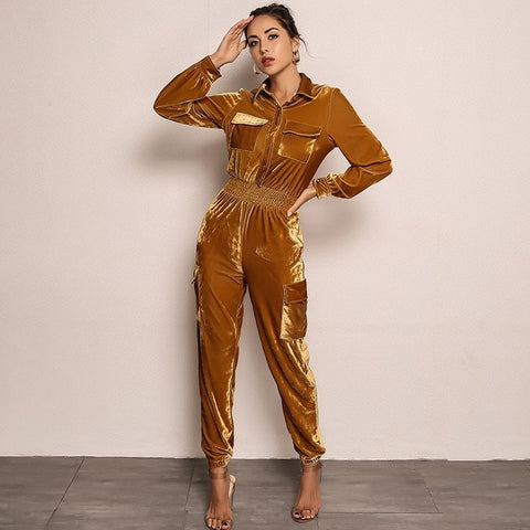 Velvet Long Sleeve Casual Yellow Solid Jumpsuits