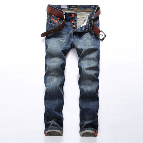 Straight Fit Ripped Italian Designer Cotton Distressed Denim Jeans