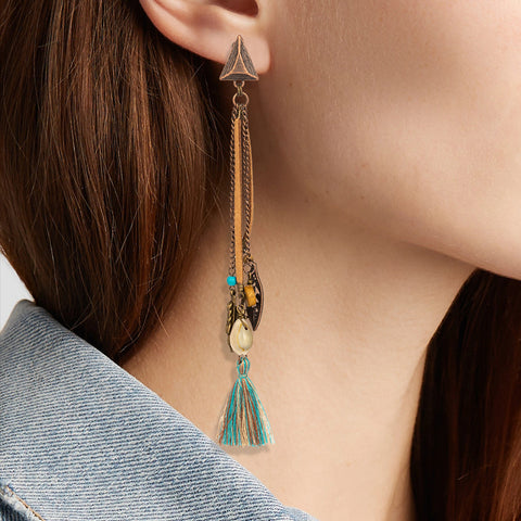 Antique Ethnic Long Tassel Dangle Drop Earrings Boho Bohemian Accessories