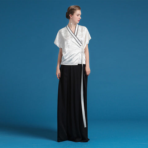 Heavy Silk White V neck Sashes Brief Casual Short Sleeve Kimono