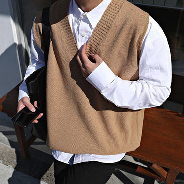 Slim Fit Sleeveless Cashmere Knitting Woolen Pullover Casual Sweater