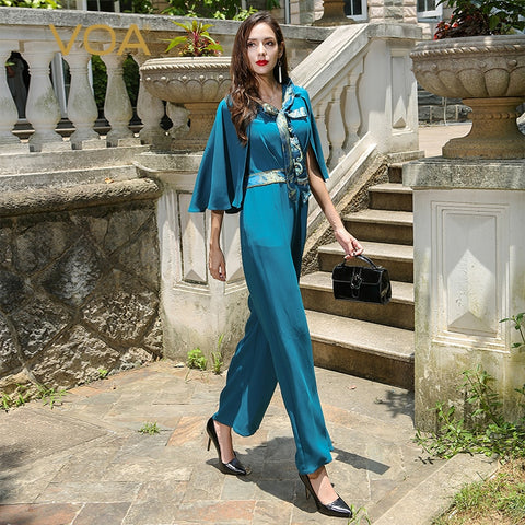 Cyan Fake Heavy Silk Jumpsuit