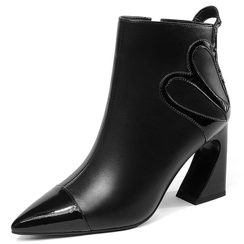 Sexy Black White Ankle Boots