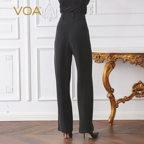 Classic Matte Black High Waist Silk Basic Straight Pants