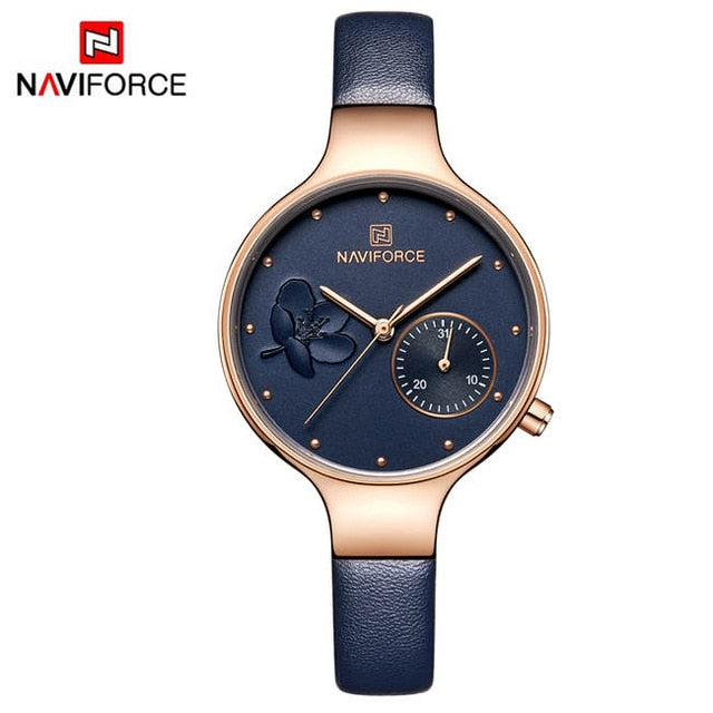 Blue Leather Watchband High Quality Casual Waterproof Wrist watch