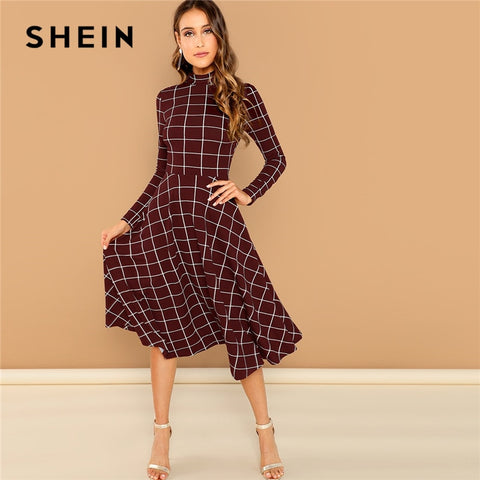 Burgundy Elegant Plaid Print High Neck Long Sleeve Office Dresses