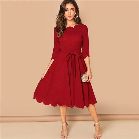 Elegant Scallop Edge Burgundy Three Quarters Sleeve Solid Pencil Midi Dress