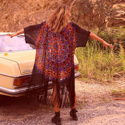Vintage Floral Print Cardigan Loose Outwear With Tassel Long Kimono