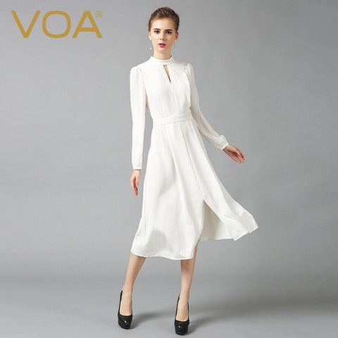 Silk Chinese Style Slim Tunic Vintage Long Sleeve Sexy White Dresses