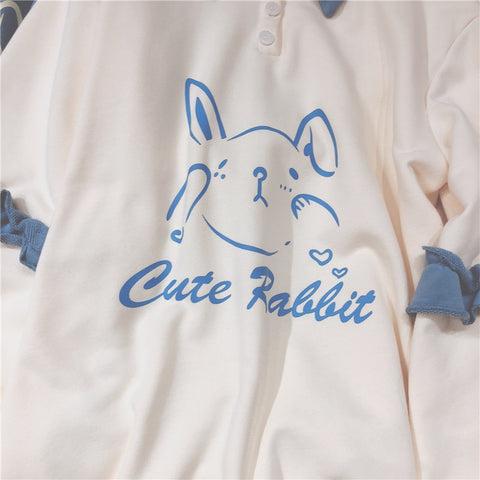 Soft Girl Cute Rabbit Letter Hoodies