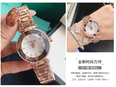 Luxury Crystal Stainless Steel Watch