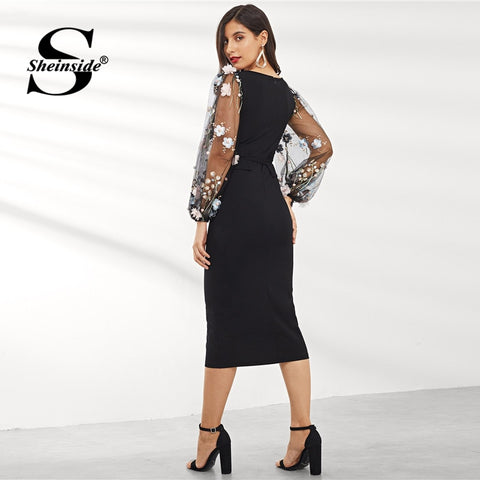Applique Embroidered Mesh Sleeve Long Sleeve Party Dresses