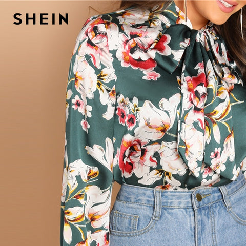 Green Tie Neck Floral Stand Collar Long Sleeve Blouse