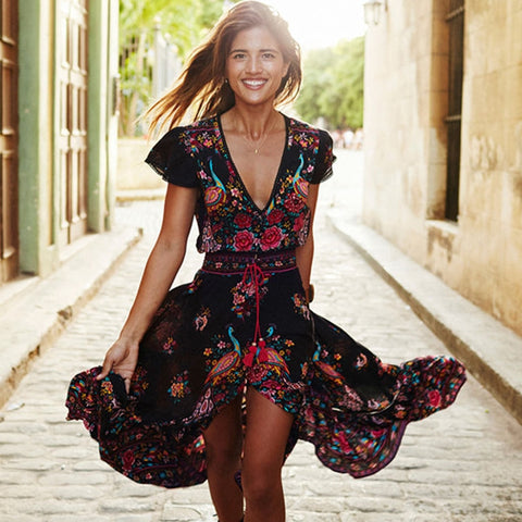 V Neck Boho Long Maxi Floral National Chiffon Vintage Dresses