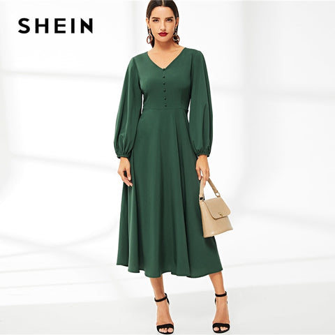 Green V Neck Button Detail Lantern Sleeve Solid Long A Line Long Sleeve Dresses