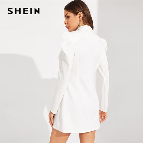 White Double Breasted Puff Sleeve V Neck Notched Solid Long Sleeve Office Dresses