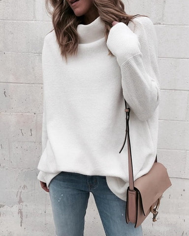 Long Sleeve White Knitted Sweaters