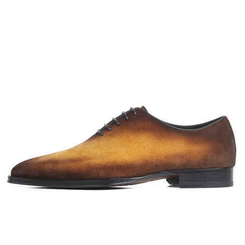 Cow Suede Patina Blake Square Toe Genuine Leather Oxford Shoes