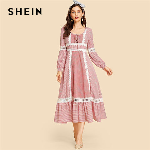 Lace Up Front Lace Insert Striped Ruffle Long Sleeve Vintage Dresses