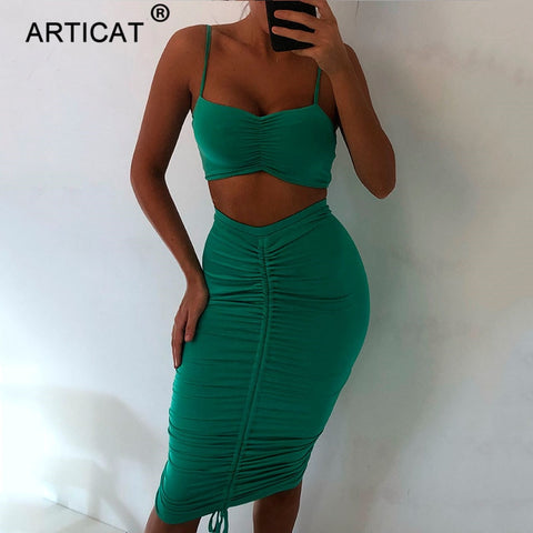 Two Piece Sexy Pleated Spaghetti Strap Backless Pencil Party Dresses