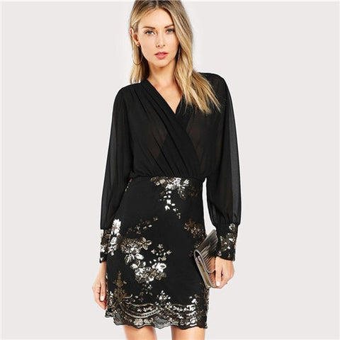 Black See Through Floral Sequin Bodice Sheath Slim Wrap Dresses