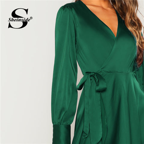 Green V Neck Surplice Belted A Line Long Sleeve Party Dresses