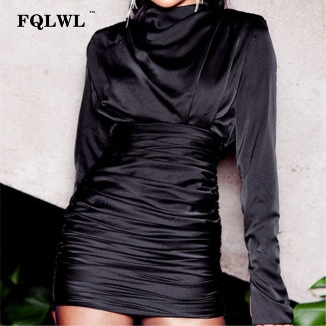 Satin Pleated Long Sleeve Black Ruched Mini Wrap Dress