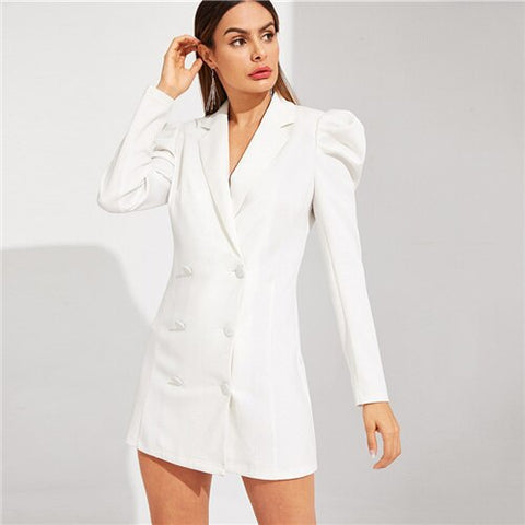 Double Breasted Puff Sleeve White Sexy Notched Blazer Dresses