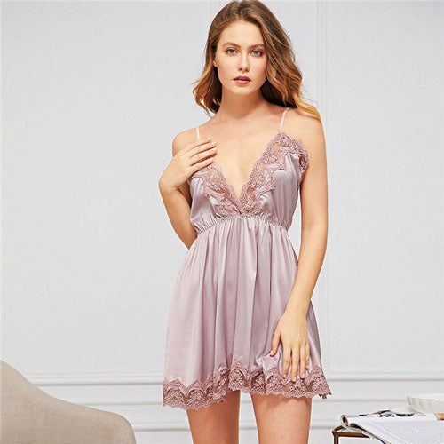 Deep V neck Sexy Contrast Lace Satin Cami Sleeveless Short Sexy Sleepwear
