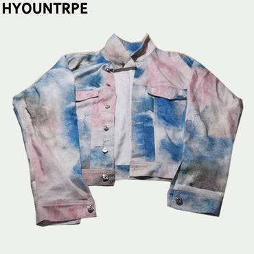 Sky Printed Casual Single Breasted Turn Down Collar Denim Jacket