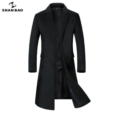 luxury high quality casual long single-breasted slim wool coat