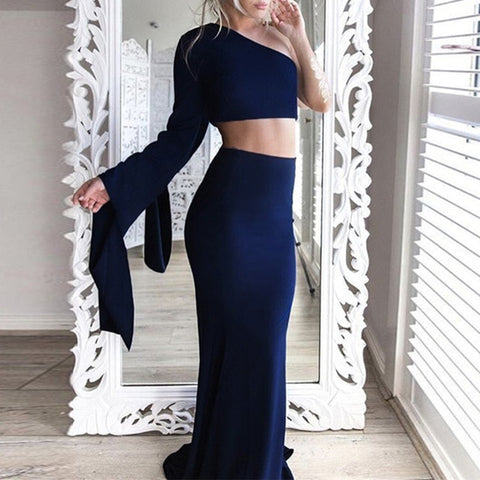 Hollow Out Sexy Long Sleeve Bodycon Maxi Dresses