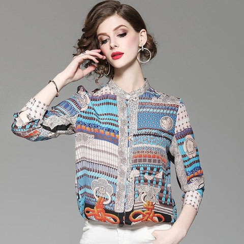 Breasted Long Sleeve Ethnic Pure Silk Bohemian Blouse Shirts