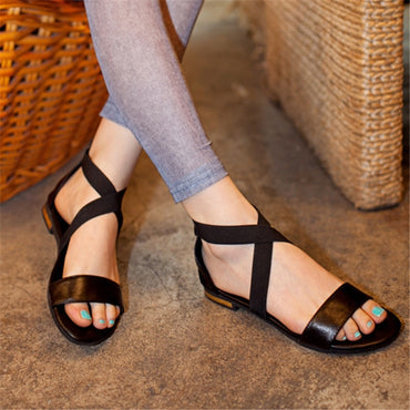 Genuine Leather zip red black casual flat sandals