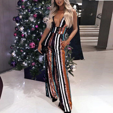 Sexy Deep V Off Shoulder Multi Color Sequin Backless Striped Jumpsuit