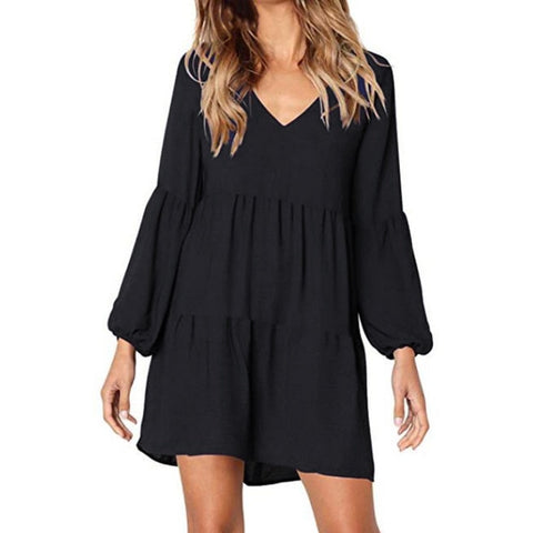 Solid Lantern Long Sleeve V Neck Draped Knee Length Casual Dress