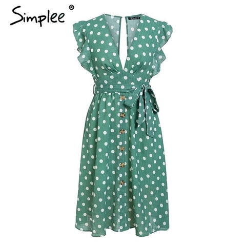 Sexy V neck polka dot green Casual ruffle Midi Dresses